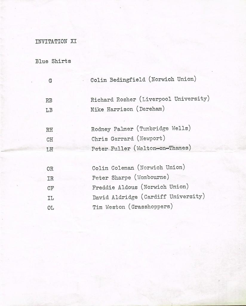 NUMHC 50th Anniversary Matchday Prog Invitation XI - 18Apr1970