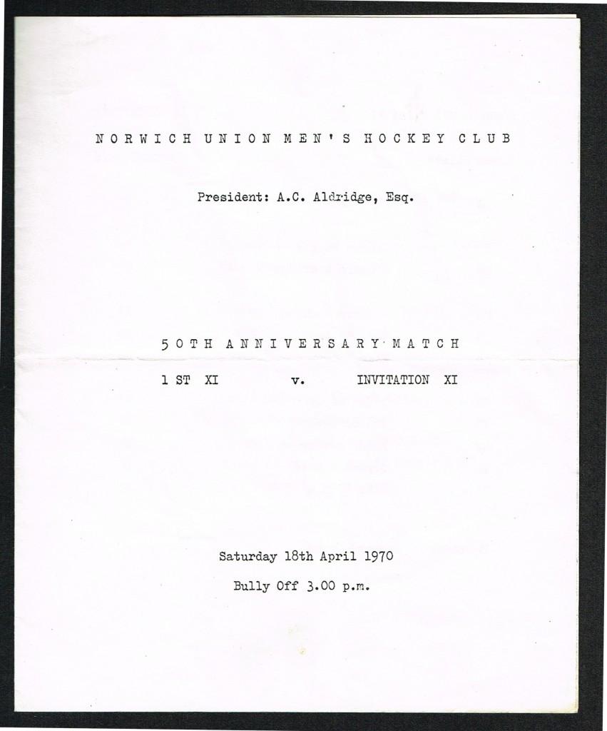 NUMHC 50th Anniversary Matchday Programme 18Apr1970