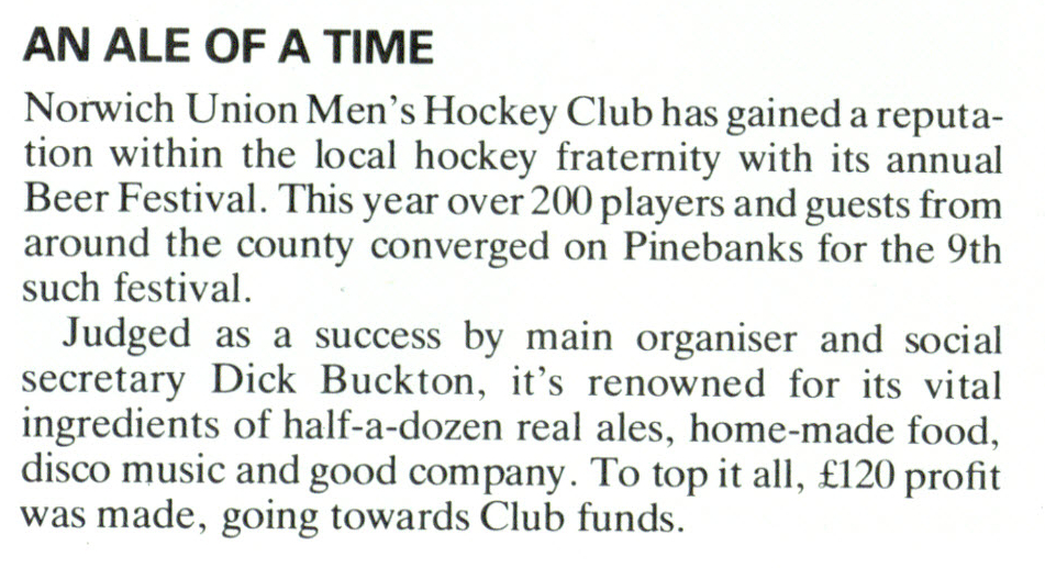 NU Magazine Winter 1984 Beer Festival Text